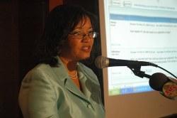 Karen at podium